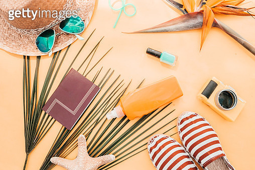 female summer bikini swimsuit accessories collage on white with hat, green branches, necklace and sunglasses. flat lay, top view - gettyimageskorea