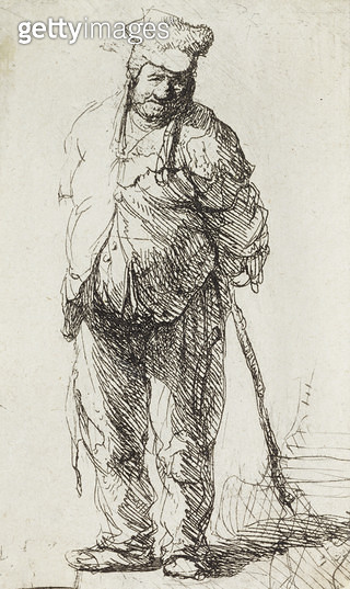 <b>Title</b> : Beggar leaning on a Stick (pen & ink on paper)<br><b>Medium</b> : <br><b>Location</b> : Leeds Museums and Galleries (City Art Gallery) U.K.<br> - gettyimageskorea