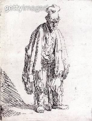 <b>Title</b> : Beggar in a High Cap Standing (pen & ink on paper)<br><b>Medium</b> : pen and ink on paper<br><b>Location</b> : Leeds Museums and Galleries (City Art Gallery) U.K.<br> - gettyimageskorea