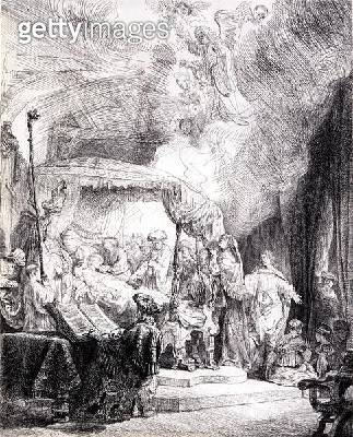<b>Title</b> : Death of the Virgin (pen & ink on paper)<br><b>Medium</b> : pen and ink on paper<br><b>Location</b> : Leeds Museums and Galleries (City Art Gallery) U.K.<br> - gettyimageskorea