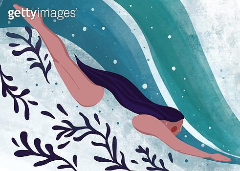 Woman Swimming underwater. - gettyimageskorea