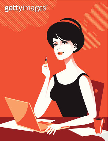 Woman with laptop and lipstick. Eps and hi-res jpg. - gettyimageskorea