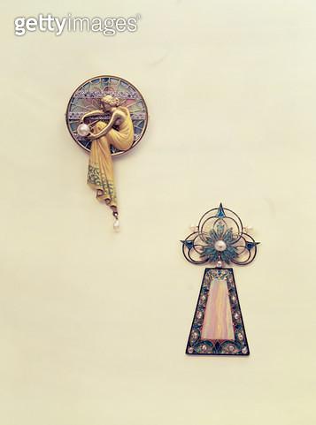 Gold enamel cultured pearl pendant showing Arachne by Louis Masiera (Art Nouveau) - gettyimageskorea