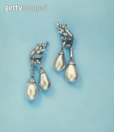 Pair of Natural Pearl and Diamond Ear Pendants - gettyimageskorea