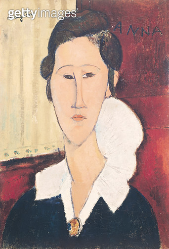 <b>Title</b> : Portrait of Madame Hanka Zborowska, 1917 (oil on canvas)<br><b>Medium</b> : oil on canvas<br><b>Location</b> : Galleria Nazionale d'Arte Moderna, Rome, Italy<br> - gettyimageskorea