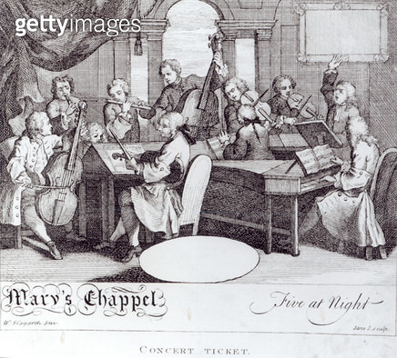 <b>Title</b> : Concert Ticket for Mary's Chapel (engraving) (b/w photo)<br><b>Medium</b> : <br><b>Location</b> : Private Collection<br> - gettyimageskorea