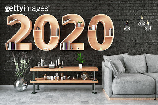 2020 BookShelf with Cozy Interior. 3D Render - gettyimageskorea