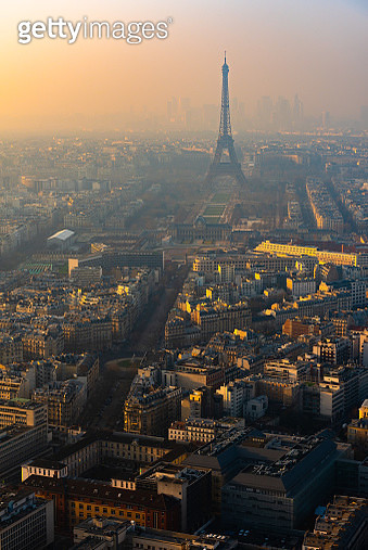 Paris Cityscape Panorama With Eiffel Tower at Sunset, Paris, France - gettyimageskorea