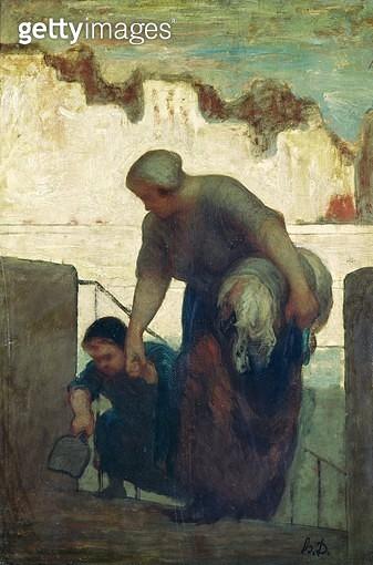 <b>Title</b> : The Washerwoman, c.1860-61 (oil on canvas)<br><b>Medium</b> : oil on canvas<br><b>Location</b> : Musee d'Orsay, Paris, France<br> - gettyimageskorea