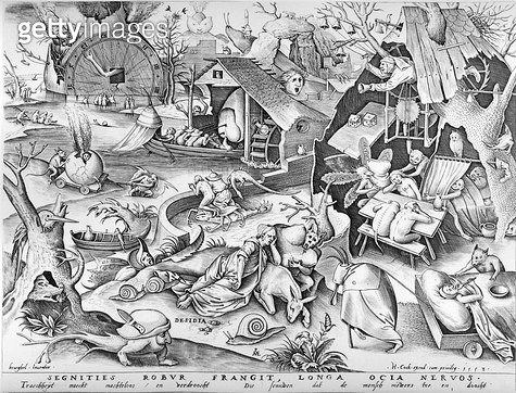 <b>Title</b> : Sloth, from the Seven Deadly Sins, engraved by Pieter ven der Heyden, 1558 (engraving)<br><b>Medium</b> : etching and engraving<br><b>Location</b> : The Israel Museum, Jerusalem, Israel<br> - gettyimageskorea
