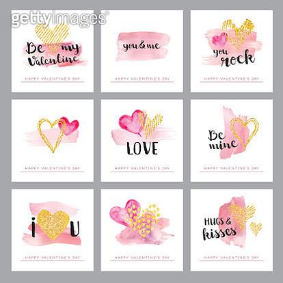 Valentines day golden hearts - gettyimageskorea