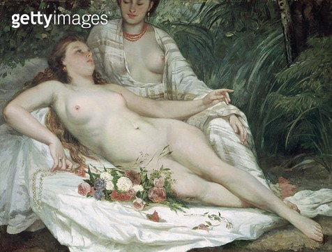 <b>Title</b> : Bathers or Two Nude Women, c.1858 (oil on canvas)Additional InfoBaigneuses dit aussi Deux Femmes Nues;<br><b>Medium</b> : oil on canvas<br><b>Location</b> : Musee des Beaux-Arts, Nantes, France<br> - gettyimageskorea