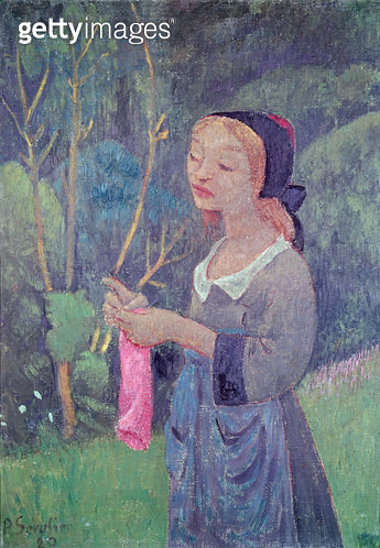 <b>Title</b> : Young Girl with a Pink Stocking or Young Breton Knitting, 1920 (oil on canvas)Additional InfoFillette au Bas Rose ou Jeune Breto<br><b>Medium</b> : oil on canvas<br><b>Location</b> : Musee des Beaux-Arts, Orleans, France<br> - gettyimageskorea