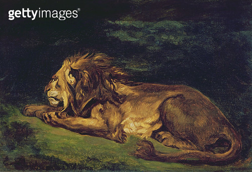 <b>Title</b> : Lion Resting (oil on canvas)<br><b>Medium</b> : oil on canvas<br><b>Location</b> : Musee des Beaux-Arts, Orleans, France<br> - gettyimageskorea
