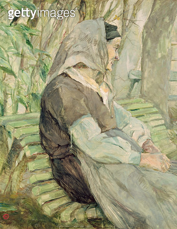 <b>Title</b> : Old Woman Seated on a Bench in Celeyran, 1882 (oil on canvas)Additional InfoVieille Femme Assise sur un Banc;<br><b>Medium</b> : oil on canvas<br><b>Location</b> : Musee Toulouse-Lautrec, Albi, France<br> - gettyimageskorea
