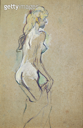 <b>Title</b> : Nude Young Girl, 1893 (oil on card)Additional Infostudy for the lithograph 'Etude de Femme';<br><b>Medium</b> : oil on card<br><b>Location</b> : Musee Toulouse-Lautrec, Albi, France<br> - gettyimageskorea