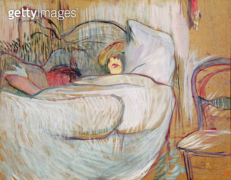 <b>Title</b> : In Bed, 1894 (oil on card)<br><b>Medium</b> : oil on card<br><b>Location</b> : Musee Toulouse-Lautrec, Albi, France<br> - gettyimageskorea