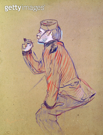 <b>Title</b> : English Soldier Smoking a Pipe, 1898 (oil card)Additional InfoSoldat anglais fumant sa pipe;<br><b>Medium</b> : oil on card<br><b>Location</b> : Musee Toulouse-Lautrec, Albi, France<br> - gettyimageskorea