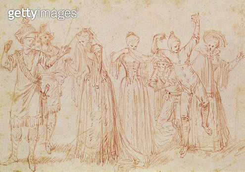 <b>Title</b> : Group of Comic and Tragic Actors (pen & ink on paper)Additional InfoGroupes d'Acteurs Tragiques et Comiques;<br><b>Medium</b> : pen and ink on paper<br><b>Location</b> : Musee de la Ville de Paris, Musee Carnavalet, Paris, France<br> - gettyimageskorea