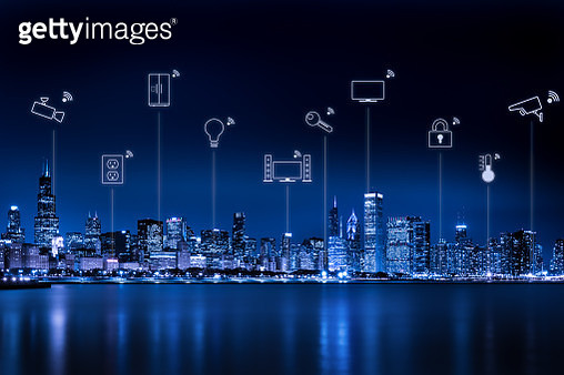 Chicago city skyline with internet of things - gettyimageskorea