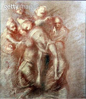 <b>Title</b> : The Deposition (in the manner of Michelangelo) (pastel on paper)Additional Infostyle of Michelangelo Buonarroti (1475-1564);<br><b>Medium</b> : pastel on paper<br><b>Location</b> : Bonhams, London, UK<br> - gettyimageskorea