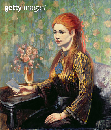 <b>Title</b> : Red-haired Girl Sitting at a Table (in the manner of Renoir)Additional Infostyle of Pierre August Renoir (1841-1919);<br><b>Medium</b> : oil on canvas<br><b>Location</b> : Bonhams, London, UK<br> - gettyimageskorea
