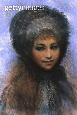 <b>Title</b> : Girl in a Black Bonnet (in the manner of Renoir) (pastel on paper)Additional Infostyle of Pierre Auguste Renoir (1841-1919);<br><b>Medium</b> : pastel on paper<br><b>Location</b> : Bonhams, London, UK<br> - gettyimageskorea