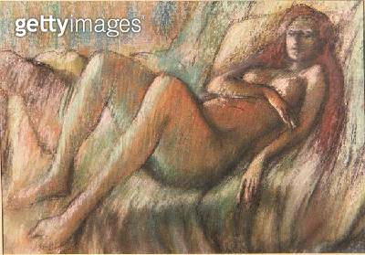 <b>Title</b> : Nude Reclining on a Couch (in the manner of Degas) (pastel on pastel)Additional Infostyle of Pierre Auguste Renoir (1841-1919);<br><b>Medium</b> : pastel on paper<br><b>Location</b> : Bonhams, London, UK<br> - gettyimageskorea