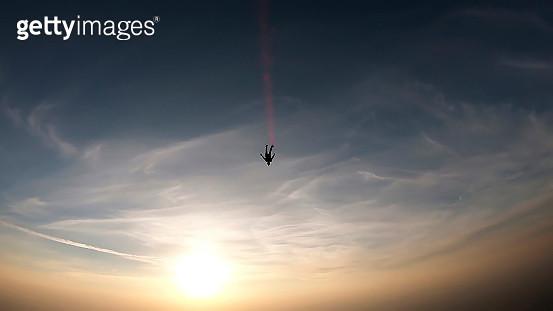 Skydiver taking off - gettyimageskorea