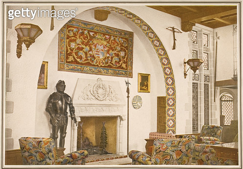 <b>Title</b> : The fireplace in the El Greco smoking room aboard the R.M.S Carinthia, from a Cunard Line promotional brochure, c.1926-30 (colou<br><b>Medium</b> : <br><b>Location</b> : Private Collection<br> - gettyimageskorea