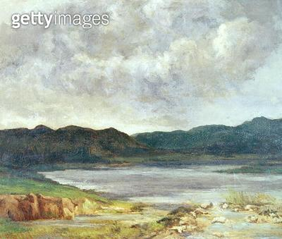 <b>Title</b> : The Black Lake, 1872 (oil on canvas)<br><b>Medium</b> : oil on canvas<br><b>Location</b> : Musee-Maison Natale Gustave Courbet, Ornans, France<br> - gettyimageskorea