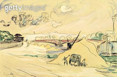 <b>Title</b> : The Pile of Sand, Bercy, 1905 (pencil & w/c on paper)<br><b>Medium</b> : pencil and watercolour on paper<br><b>Location</b> : Musee des Beaux-Arts et d'Archeologie, Besancon, France<br> - gettyimageskorea