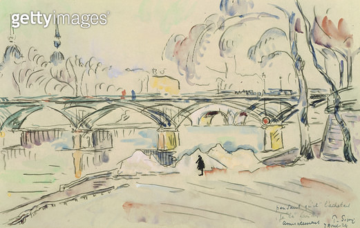 <b>Title</b> : The Pont des Arts, 1924 (pencil & w/c on paper)<br><b>Medium</b> : pencil and watercolour on paper<br><b>Location</b> : Musee des Beaux-Arts et d'Archeologie, Besancon, France<br> - gettyimageskorea