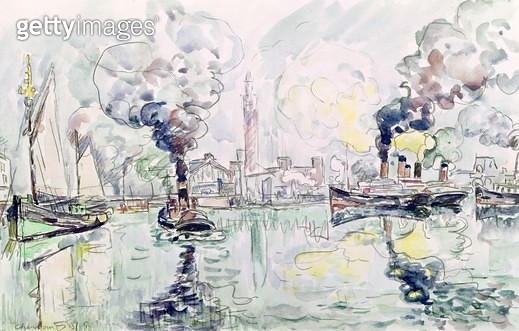 <b>Title</b> : Cherbourg, 1931 (pencil & w/c on paper)<br><b>Medium</b> : pencil and watercolour on paper<br><b>Location</b> : Musee des Beaux-Arts et d'Archeologie, Besancon, France<br> - gettyimageskorea