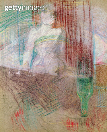 <b>Title</b> : Woman standing behind a table, from 'Elles', 1889 (pastel on paper)<br><b>Medium</b> : pastel on paper<br><b>Location</b> : Musee Toulouse-Lautrec, Albi, France<br> - gettyimageskorea