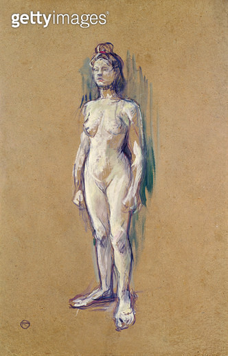 <b>Title</b> : Standing Female Nude, 1898 (oil on card)Additional InfoFemme nue debout de face;<br><b>Medium</b> : oil on card<br><b>Location</b> : Musee Toulouse-Lautrec, Albi, France<br> - gettyimageskorea