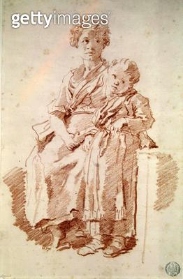 <b>Title</b> : A Young Girl with her Sister, 1774 (red chalk on paper)Additional InfoJeune Fille et Sa Petite Soeur;<br><b>Medium</b> : red chalk on paper<br><b>Location</b> : Musee des Beaux-Arts et d'Archeologie, Besancon, France<br> - gettyimageskorea