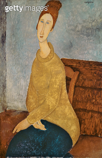 <b>Title</b> : Jeanne Hebuterne in a Yellow Jumper, 1918-19 (oil on canvas)<br><b>Medium</b> : oil on canvas<br><b>Location</b> : Solomon R. Guggenheim Museum, New York, USA<br> - gettyimageskorea