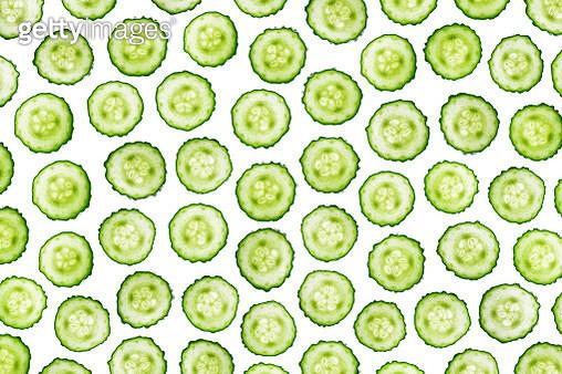 Cucumber Slices Back Lit Pattern - gettyimageskorea