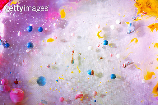 Abstract and colorful pigments creating textures of blobs, dots and splatters - gettyimageskorea