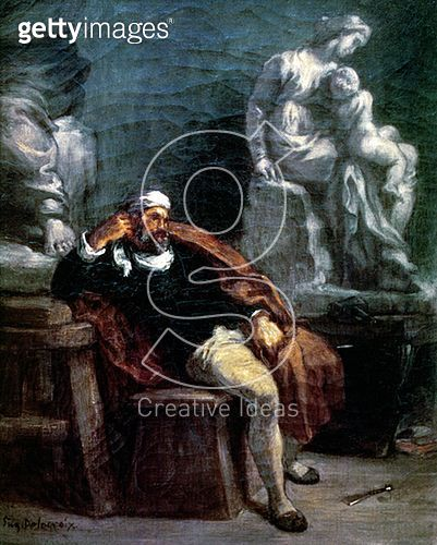 <b>Title</b> : Michelangelo (1475-1564) in his Studio (oil on canvas)<br><b>Medium</b> : oil on canvas<br><b>Location</b> : Musee Fabre, Montpellier, France<br> - gettyimageskorea