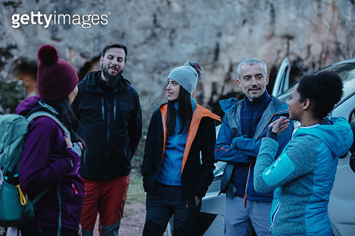 Rock climbing coach introducing himself to the group - gettyimageskorea
