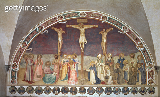 <b>Title</b> : The Crucifixion, with SS. Cosmas, Damian, Francis and Bernard, 1442 (fresco)<br><b>Medium</b> : fresco<br><b>Location</b> : Museo di San Marco dell'Angelico, Florence, Italy<br> - gettyimageskorea