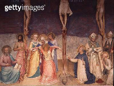 Detail from The Crucifixion showing the Agony of the Virgin/ 1442 (fresco) - gettyimageskorea