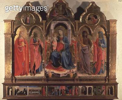 Virgin and Child Enthroned with Four Angels/ St. Mark/ St. John the Baptist/ St. John the Evangelist and Mary Magdalen/ from the Polittico di San Domenico (for detail see 87999) - gettyimageskorea