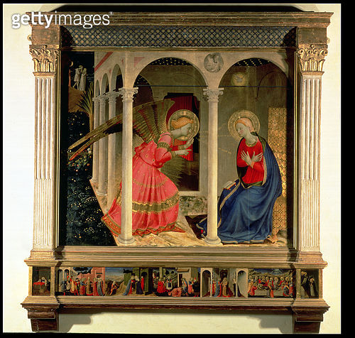 <b>Title</b> : The Annunciation (Cortona Altarpiece), c.1438 (tempera on panel)Additional InfoAdam and Eve in background;<br><b>Medium</b> : tempera on panel<br><b>Location</b> : Museo Diocesano, Cortona, italy<br> - gettyimageskorea