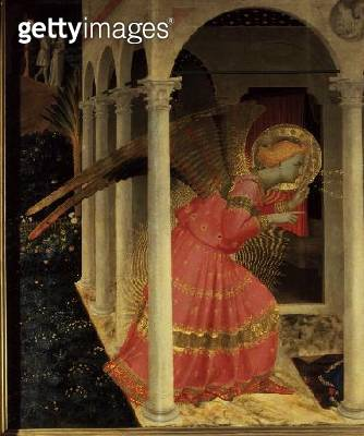 <b>Title</b> : Detail from The Annunciation showing the Angel Gabriel<br><b>Medium</b> : <br><b>Location</b> : Museo Diocesano, Cortona, italy<br> - gettyimageskorea