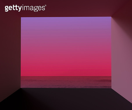 Digital render of window open view to the seascape with dramatic sunrise. - gettyimageskorea