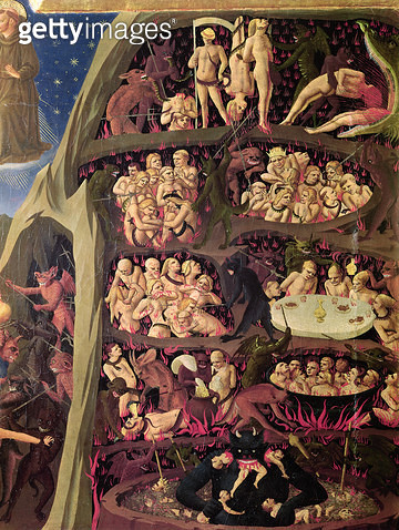 <b>Title</b> : The Last Judgement, detail of Hell, c.1431 (oil on panel)<br><b>Medium</b> : oil on panel<br><b>Location</b> : Museo di San Marco dell'Angelico, Florence, Italy<br> - gettyimageskorea