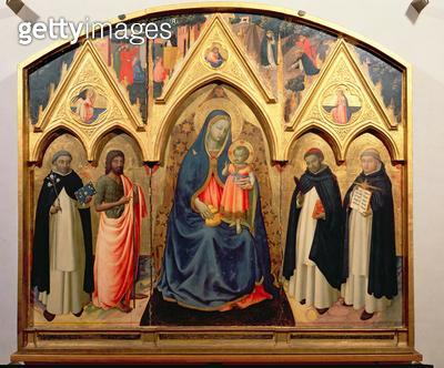 <b>Title</b> : The Virgin and Child with St. John the Baptist, St. Dominic, St. Peter the Martyr and St. Thomas Aquinas (tempera on panel)<br><b>Medium</b> : <br><b>Location</b> : <br> - gettyimageskorea